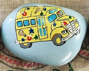 Magic School Bus painted rock