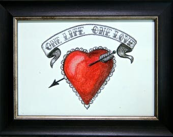 "Gift. Art. Engagement,Wedding,Anniversary or just to say ""I Love You"". Vintage inspired Heart  Love print - Framed"