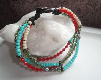 Dark Brown Corded Beaded Colored Bracelet