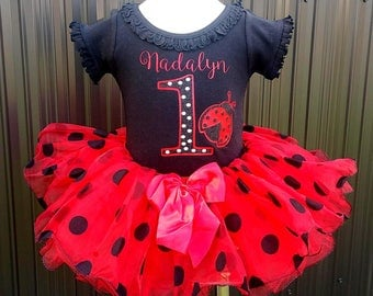 Little Ladybug Birthday First or Second Birthday Tutu Set