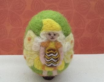 Needle felted egg - Easter fairy