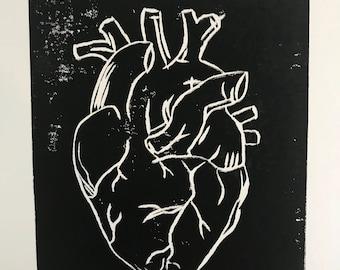 Heart Lino Print