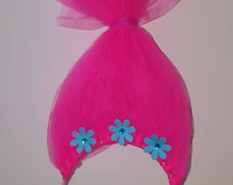 Girls Dress up headband - Trolls movie - Trolls party - Pink Troll Costume headband - kids Poppy Troll Dress Up Hair