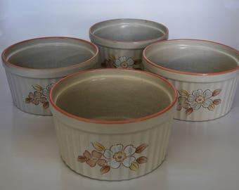 Japanese Ramekins, Vintage Set of 4 Chantilly Stoneware Japan Ramekins, Vintage Ramekins, Japanese Cookware