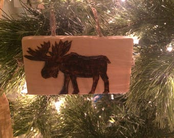 Moose Christmas Ornament, Rustic Tree Decorations, Reclaimed Wood Ornaments