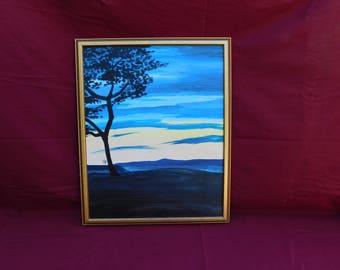 Scenic Sunset acrylic framed painting