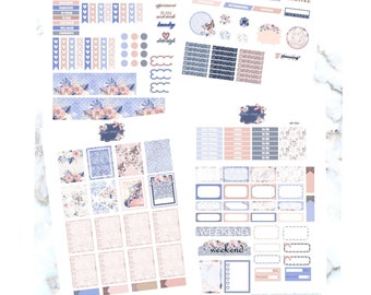 Blue Lace Printable Weekly kit/ Erin Condre/ Sticker kit