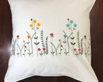 Embroidered cotton pillow cover White cushion pillowcase with red teal yellow flower; Wedding, easter, birthday, housewarming gift