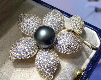 Beautiful Genuine Peacock Color Tahitian Pearl Flower Brooch with Cubic Zirconia, Cz Flower Brooch with Freshwater Pearl Brooch