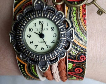 Faux leather cuff watch