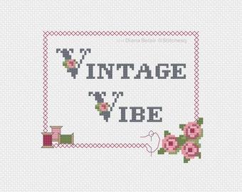 Vintage Vibe Cross Stitch Pattern Instant PDF Download