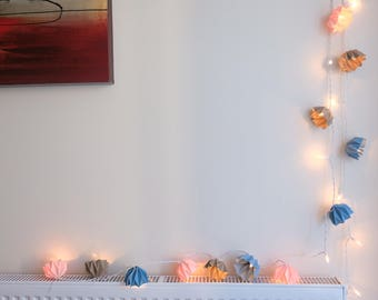 Pastel colours Origami hand-folded fairy lights living room
