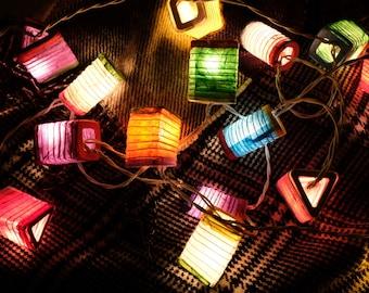 LED string lights Multi colour Japanese paper lantern