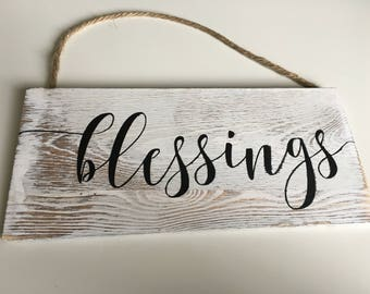Blessings Wood Sign