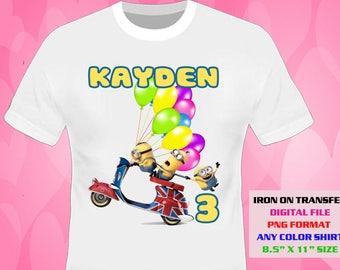 Minions Iron On Transfer , Minions Boy Birthday Shirt DIY , Minions Shirt Designs , Minions Printable , Personalize , Digital Files