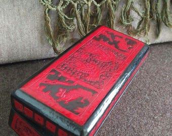 Oriental stule hand painted wooden box