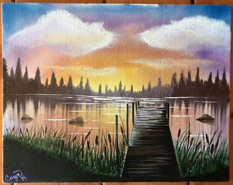 Original oil painting pier sunset signed 11x14