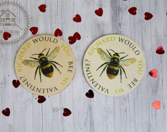 Valentines gift for him, valentines keepsake, fridge magnet, white wash bee mine magnet, shabby chic gift, personalised valentines decor