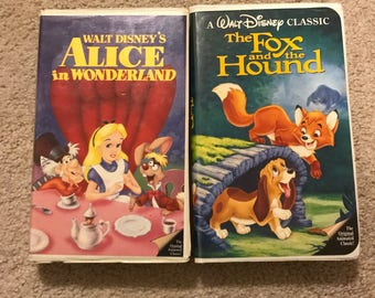 Alice in Wonderland and Fox and the Hound Black Diamond VHS