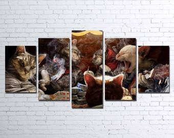 Poker Cats 5pc Wall Canvas