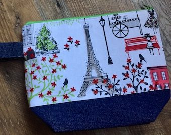 Project Bag Eiffel Tower Paris park cafe trees red denim bag for knitting crochet embroidery cross stitch needlepoint art supplies make up