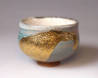 Glost-fired Earthen Teacup- Rich texture and gold foil print, japanese teacup, handmade ceramic teacup with gold foil, Unique gifts