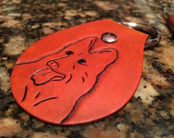 Hand tooled lether keychain, Leather key fob, German Shepherd Dog