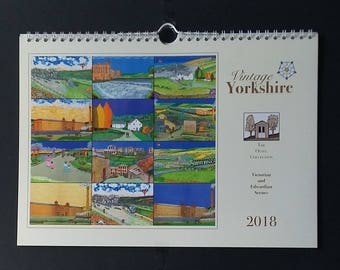 Wall Calendar 2018 in A4 landscape style. Yorkshire Victorian and Edwardian scenes made from acrylic and mixed media hand-made paintings