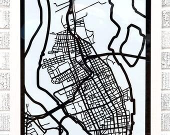Charleston, SC map 18x24 laser-cut print, black on white