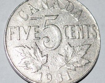 Canada 1931 5 Cents George V Canadian Nickel