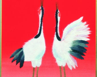 "Chigiri-e Japanese Washi Paper Collage DIY Art Kit ""Crane couple"""