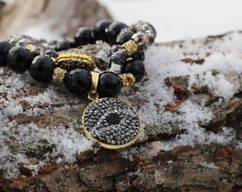 Handmade beaded evil eye druzy bracelet set