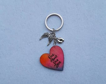 Hand painted keychain with charm