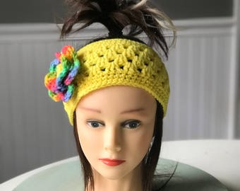 Crocheted Ear warmer with flower (small)