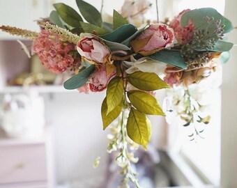 Custom Floral Chandelier, Baby Mobile, Nursery Decor