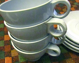 Boonton melmac cups and saucers light blue vintage USA