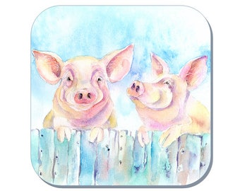 Two Little Pigs - Pigs Coaster (Corked Back). From an original Sheila Gill Watercolour Painting