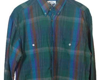 Vintage 80s 90s Dockers Men's Button Down Shirt - Size L - Blue Green Plaid, 80s Plaid Shirt, 90s Plaid Shirt, Mens Plaid Shirt, Retro Plaid