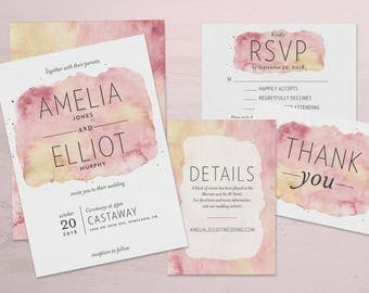 Pink & Gold Watercolor Wedding Invitations and Wedding Suite - Customizable Printable Wedding Invitation Kit - Digital Download