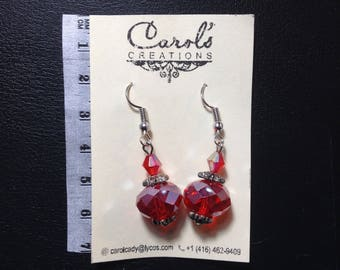 Handmade Crystal and Glass Red Earrings