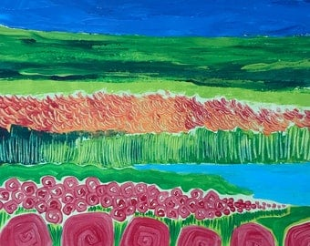 Wonderful Field. Original Acrylic Painting. Lotus Flower. Whimsical painting.