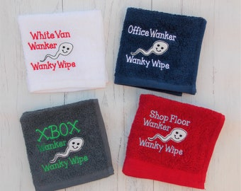 Mature Personalised Embroidered Wanky Wipe. After Sex Mini Towel. Cum Cloth. Valentine or Birthday gift for men and women All Customisable.