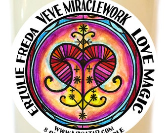 Erzulie Freda Veve Lwa Miraclework for Love Magic Voodoo Scented Soy 8 oz Glass Candle