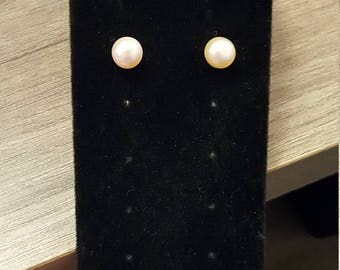 Pale Peach Sterling Pearl Studs