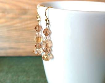 Peach pink Swarovski crystal dangle drop linear beaded wire earrings