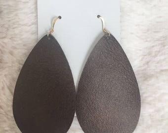 Bronzed Leather Earrings, Teardrop earrings, lightweight earrings
