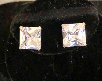 Sterling Silver 9mm CZ Earrings