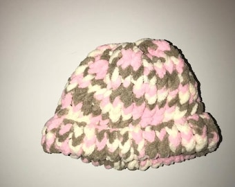 Pink, brown and white baby hat