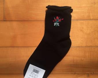 floral black and red socks, free shipping, cute socks, fun socks