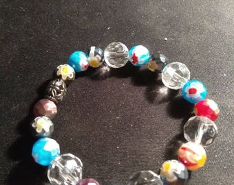Multi color glass bead stretch bracelet